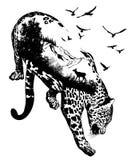 Vektor-Doppelbelichtung, Hand gezeichneter Leopard vektor abbildung