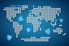 Vektor Dots World Map med fisken Fotografering för Bildbyråer