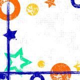 Vektor dragen geometrisk bakgrund med geometriska diagram, ram, gräns Grungemallen med stjärnor, cirklar, pricker vin för gammal  Royaltyfri Foto
