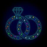Vektor-Draht-Rahmen Mesh Diamond Wedding Rings mit Stellen des grellen Glanzes für Chistmas lizenzfreie abbildung