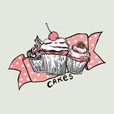 Vektor drei schöner köstlicher kleiner Kuchen Stockbild