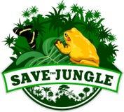 Vektor-Dschungel-Emblem mit Frosch und Schmetterling Lizenzfreie Stockfotos
