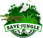 Vektor-Dschungel-Emblem mit Krokodil und Reiher Stockbilder