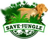 Vektor-Dschungel-Emblem mit Löwen Lizenzfreies Stockbild