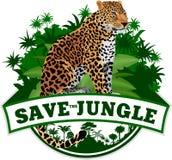 Vektor-Dschungel-Emblem mit Leoparden Lizenzfreies Stockbild