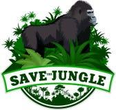 Vektor-Dschungel-Emblem mit männlichem Gorilla Stockfoto