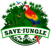 Vektor-Dschungel-Emblem mit Papagei Rot-Keilschwanzsittich Stockfotos