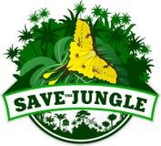 Vektor-Dschungel-Emblem mit Schmetterling Lizenzfreie Stockfotos