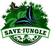 Vektor-Dschungel-Emblem mit Schmetterlingen Stockfotografie