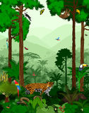 Vektor-Dschungel mit Tieren Stockfotos