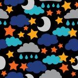 Vektor-, Dunkle, Schwarzesonne, Mond, Sterne und Wolken Nahtloser Musterhintergrund lizenzfreie abbildung