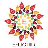 Vektor-E-Flüssigkeitsillustration des unterschiedlichen Aromas Flüssigkeit zum vape lizenzfreie abbildung