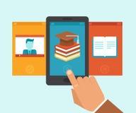 Vektor e-lärande app royaltyfri illustrationer