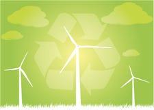 Vektor eco Windkraftanlagen Lizenzfreie Abbildung