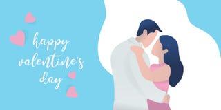 Vektor ehrfürchtiges valentine' s-Tagesfahnen-Grußentwurf mit netter Paarcharakter-Vektorillustration lizenzfreie abbildung