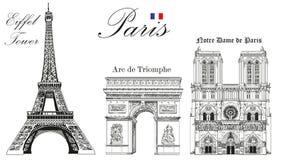 Vektor-Eiffelturm, Triumphbogen und Notre Dame Cathedral lizenzfreies stockfoto