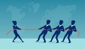 Vektor einer Geschäftsfrau in einem Schlepperkrieg mit einer Gruppe männlichen Mitarbeitern lizenzfreie abbildung