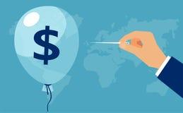 Vektor einer Hand mit Nadel durchbohrt den Ballon mit Dollarzeichen lizenzfreie abbildung
