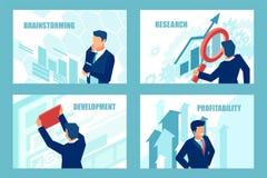 Vektor eines erfolgreichen Geschäftsmannes, der für neue rentable Gelegenheiten gedanklich löst lizenzfreie abbildung