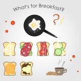 Vektor eingestellt auf das Thema des Frühstücks Stockfotos