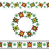 Vektor eingestellt auf transparenten Hintergrund Nahtlose Streifen und runder Rahmen von hellen bunten Schildkröten vektor abbildung