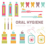 Vektor eingestellt auf Zahnpflegethema Stockbilder
