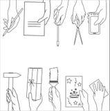 Vektor eingestellt mit den Händen Stockbilder