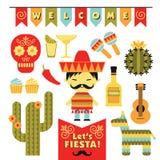 Vektor eingestellt mit traditionellen mexikanischen Symbolen Stockfotos