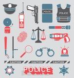Vektor eingestellt: Polizeibeamte und Detektiv Icons Stockfotos