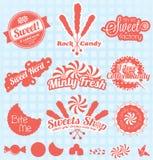 Vektor eingestellt: Retro- Süßigkeits-Geschäfts-Aufkleber und Ikonen Stockbilder