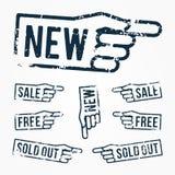 Vektor eingestellt: Zeigen von Handstempeln: neu, Verkauf, frei, ausverkauft Lizenzfreie Stockfotografie