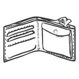 Vektor-einzelne Skizzen-offene Geldbörse Stockfoto
