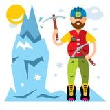 Vektor-Eis-Bergsteiger Flache Art bunte Karikaturillustration vektor abbildung