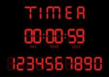 Vektor Elektronischer Timer, Leuchtstoff Digitalanzeige mit Stelle lizenzfreie abbildung