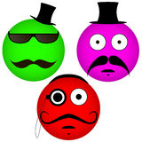 Vektor Emoticons mit einem Schnurrbart Lizenzfreie Abbildung