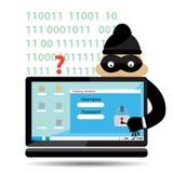 Vektor-en hacker med den bärande balaclavaen för dator stock illustrationer