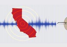 Vektor EPS10 för Kalifornien jordskalvbegrepp och raster Arkivfoton