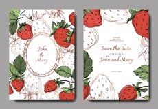 Vektor-Erdbeerfrüchte grünes Blatt Gravierte Tintenkunst Heiratsdekorative mit Blumengrenze der hintergrundkarte vektor abbildung