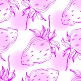Vektor-Erdbeerfrüchte Rosa gravierte Tintenkunst Nahtloses Hintergrundmuster lizenzfreie abbildung