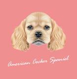 Vektor erläutertes Porträt von Amerikaner-Cocker spaniel-Welpen Stockfoto