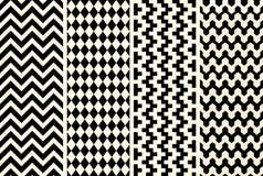 Vektor-ethnische Schwarzweiss-Muster stellten Illustration ein Stockfotos