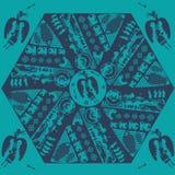 Vektor etniska stam- Mandala With Mythical Animals Svart Mandala Geometric Round Ornament Ethnic motiv stock illustrationer