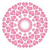Vektor färbte ringsum liebevolle nette Mandala mit Babyrosaherzen - erwachsene Malbuchseite Stockfotos