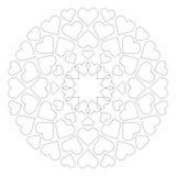 Vektor färbte ringsum liebevolle nette Mandala mit Herzen - erwachsene Malbuchseite Stockfoto