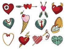 Vektor färgad hjärtauppsättning tecknad hand Royaltyfria Bilder