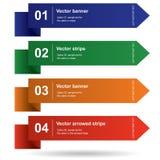 Vektor färgade band med nummer för infografic Royaltyfri Fotografi