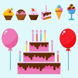 Vektor för årsdag för händelse för garnering för överraskning för lycklig födelsedag för partisymbolsberöm stock illustrationer