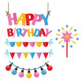 Vektor för årsdag för händelse för garnering för överraskning för lycklig födelsedag för partisymbolsberöm vektor illustrationer