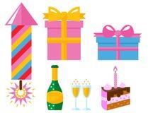 Vektor för årsdag för händelse för garnering för överraskning för lycklig födelsedag för partisymbolsberöm royaltyfri illustrationer