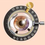 Vektor för ögonprovbaner Slingaram Diagnostisk utrustning Optometriker Check Omsorgillustration stock illustrationer